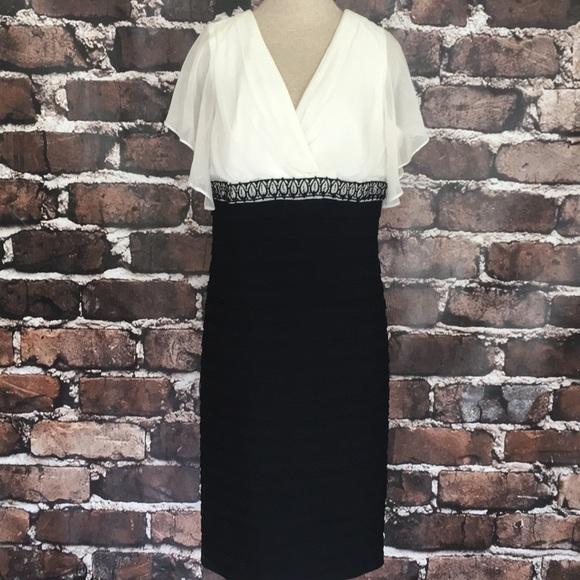 Semi formal Black white beaded dress plus size 16